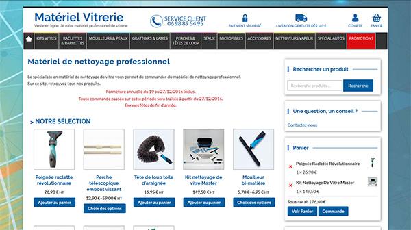Materiel Vitrerie Site e-commerce administrable