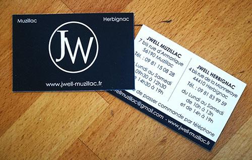Jwell Muzillac - Herbignac - carte de visite vernis sélectif