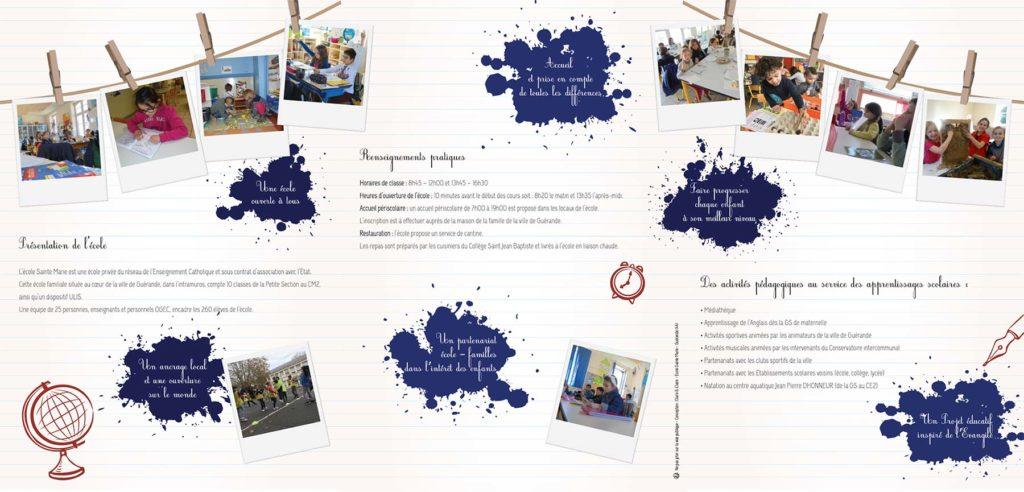 Pochette Volets Ecole Sainte Marie Guerande régie publicitaire